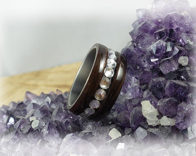 Bentwood Ring - Macassar Ebony w/Swarovski crystal inlay on titanium ring core