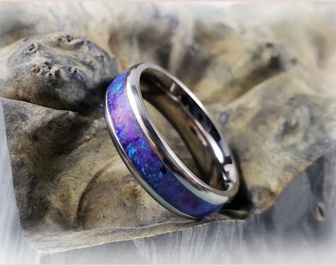 Titanium Channel Ring w/Opal inlay, 6mm