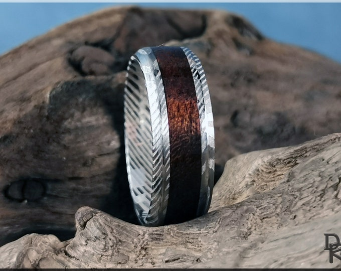 Genuine Damascus Steel Channel Ring w/Smoked Etimoe inlay