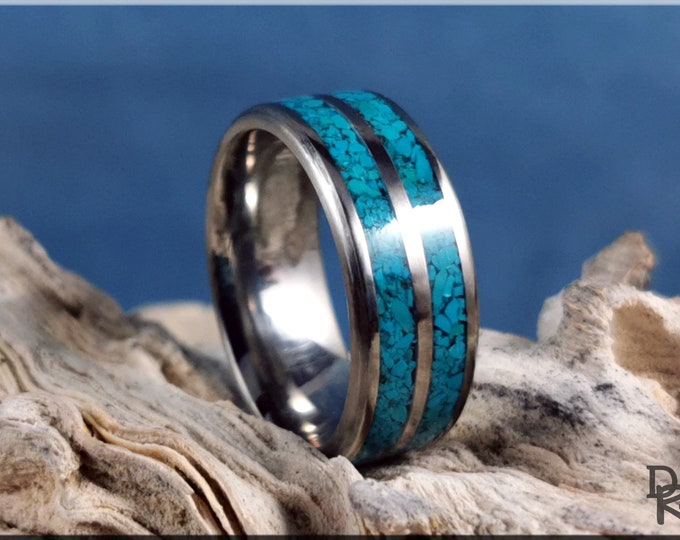Titanium 8mm Dual-Channel Ring with Chilean Turquoise Stone inlay