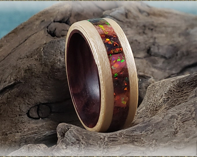 Bentwood Ring - Maple w/Multi Cherry and Multi Fire chunk Opal inlay, on Kingwood core
