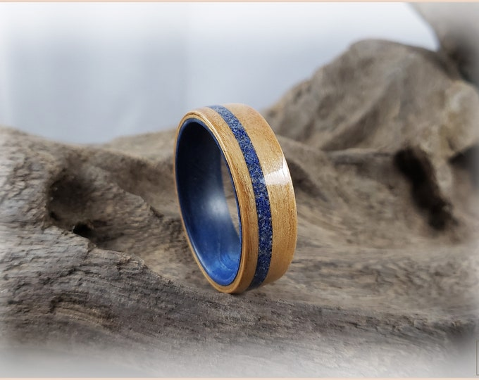 Bentwood Ring - Alderwood w/offset Lapis Lazuli inlay, on Denim Blue Box Elder ring core