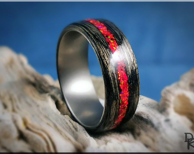 Bentwood Ring - Harborica w/Ruby Fire Opal inlay on titanium ring core