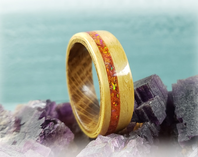 Bentwood Ring - Golden Curly Movingui w/offset Mexico Fire Opal inlay on Whisky Barrel ring core