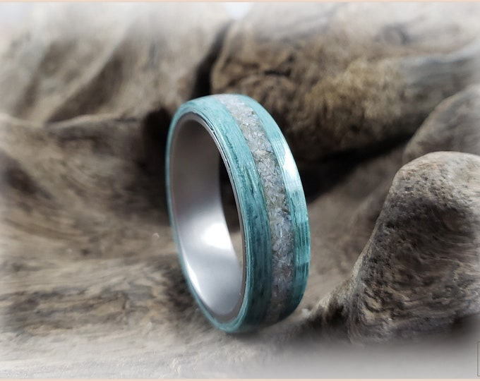Bentwood Ring - Aqua Blue Koto w/Mother of Pearl inlay, on titanium core
