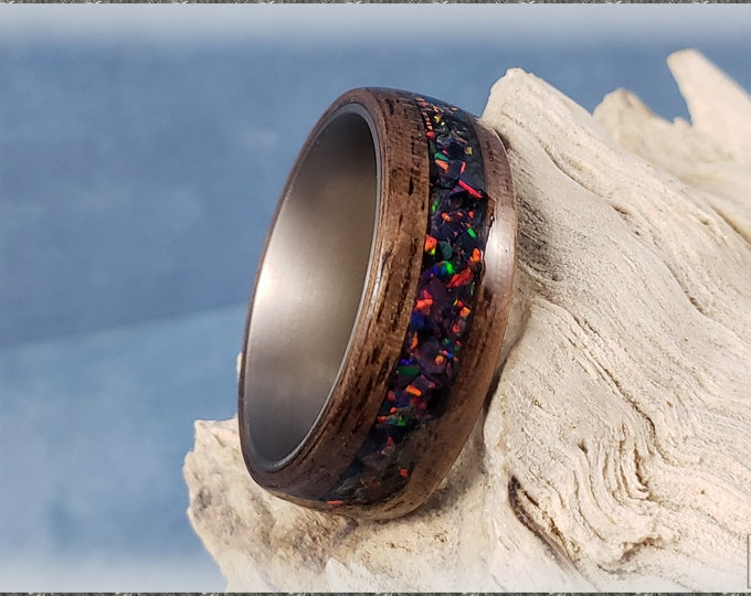 Bentwood Ring - Curly Black Walnut w/Carbon Fire opal inlay, on titanium ring core
