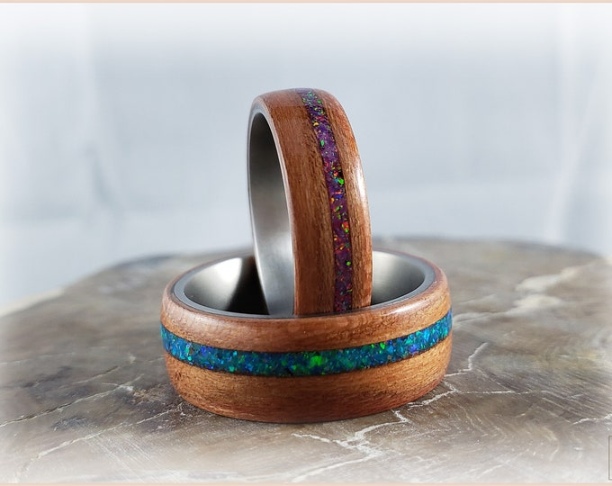 Bentwood Ring Set - 'OPALICIOUS PLUM' - Plumwood w/Opal inlays, on Titanium ring cores