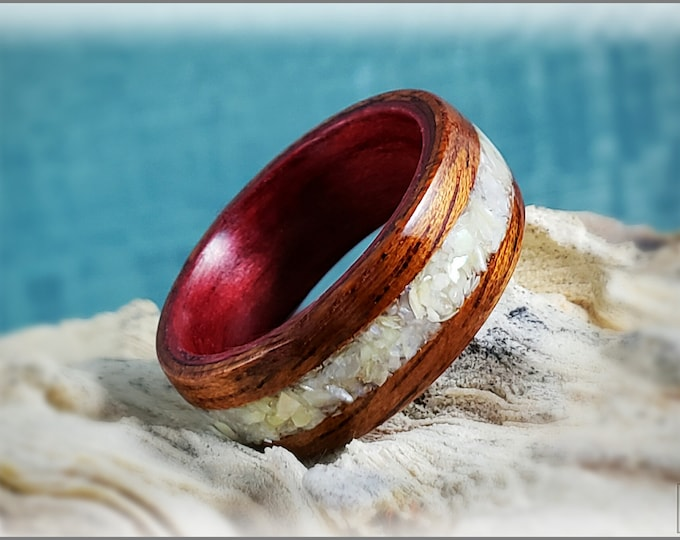 Dual Bentwood Ring - Honduran Mahogany w/Mother of Pearl, on Bentwood Cabernet Tulipwood ring core
