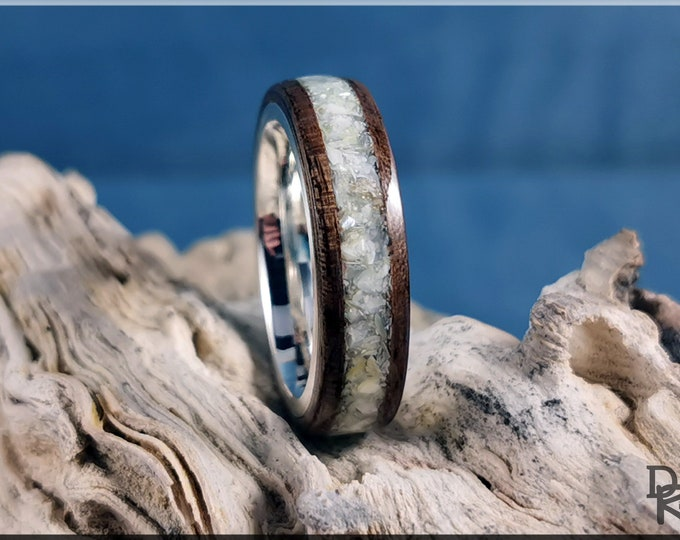 Bentwood Ring - French Walnut w/genuine Mother of Pearl inlay, on premium .925 Sterling Silver ring core
