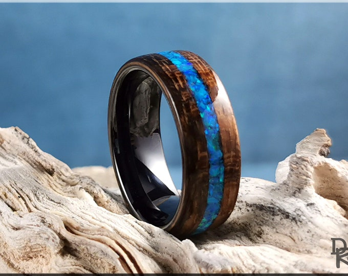 Bentwood Ring - Amazaque w/Pacific Blue Opal inlay, on polished black ceramic ring core