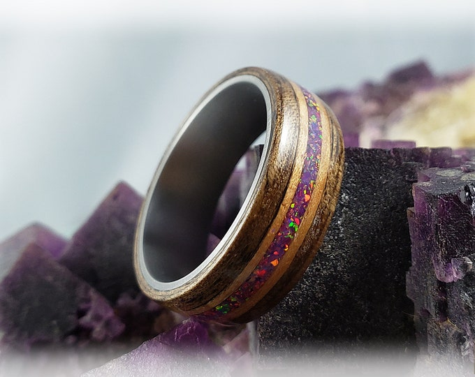 Bentwood Ring - French Walnut w/dual Curly Cherry and Royal Purple Opal inlays on titanium ring core