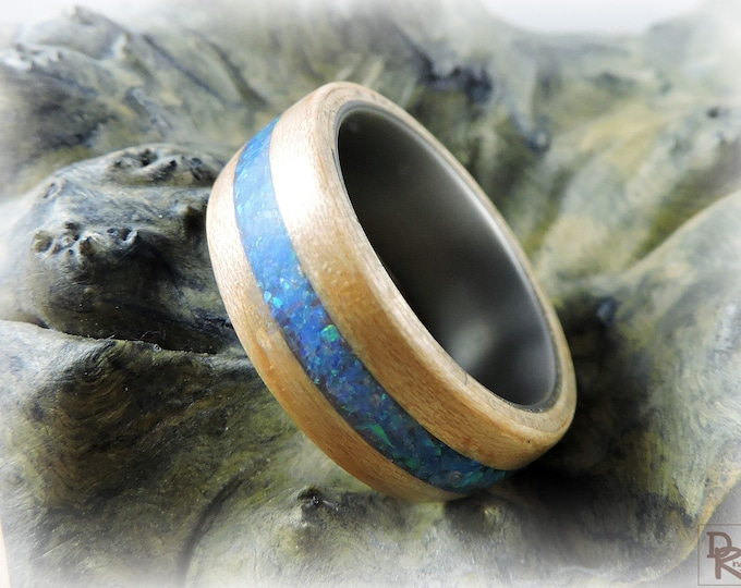 Bentwood Ring - Maple w/Blue Pacific opal inlay - titanium core.