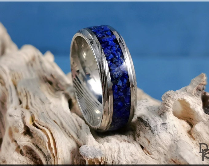 Genuine Damascus Steel Channel Ring w/Lapis Lazuli Stone inlay