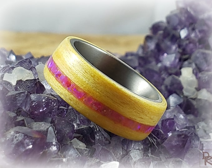 Bentwood Ring - Yellow Dyed Tulipwood w/offset Orchid opal inlay- titanium core.