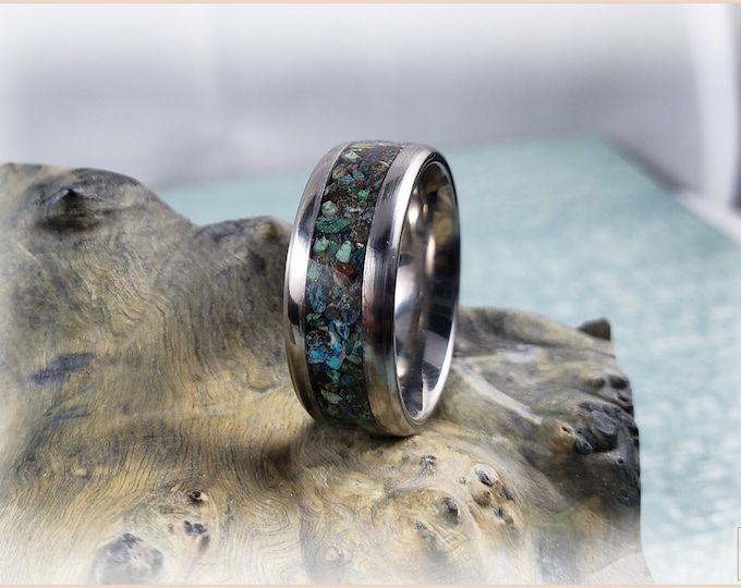 8mm Titanium Channel Ring w/Phoenix Turquoise inlay