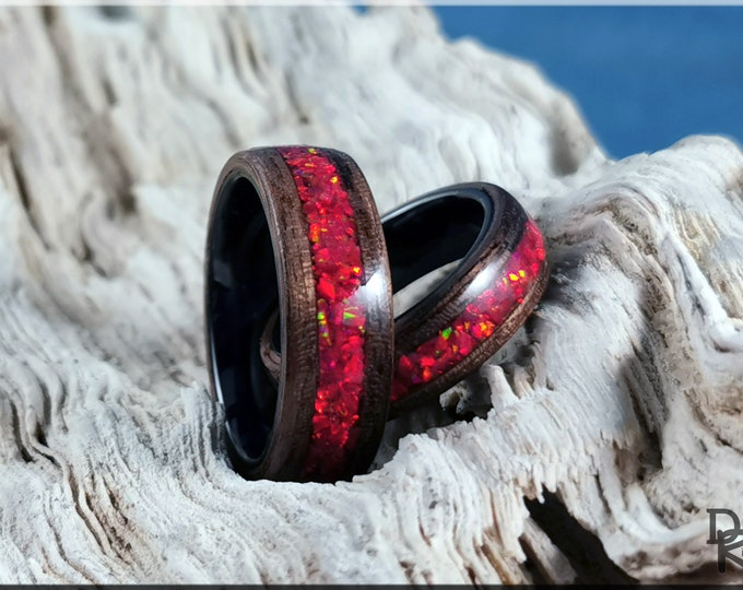 Bentwood Ring Set - 'Walnut Flames' - Curly Black Walnut w/Ruby Fire Opal inlays, on black ceramic ring cores