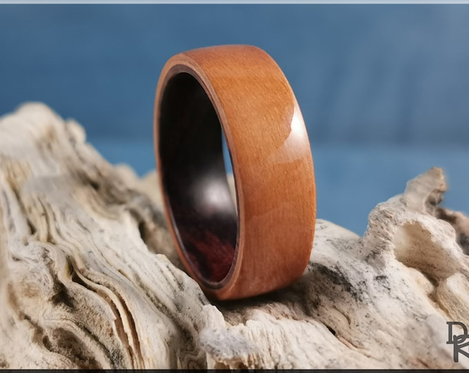 Bentwood Ring - Pear Wood on Kingwood ring core - Wood Ring