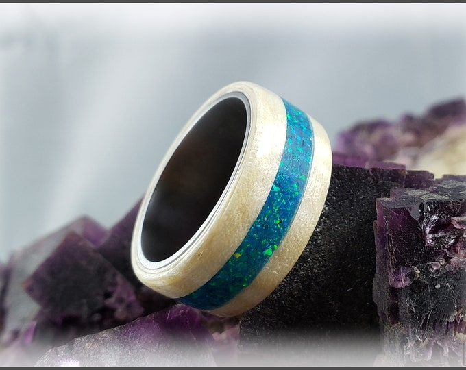 Bentwood Ring - Fiddleback Sycamore w/Sleepy Blue Opal inlay on titanium ring core