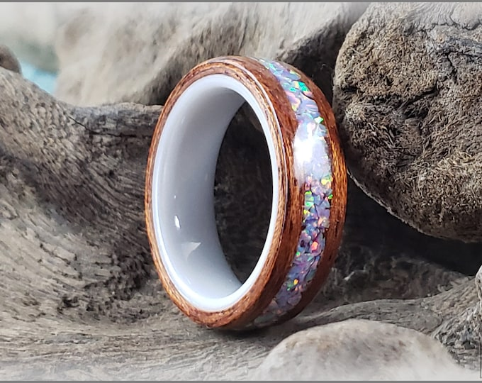Bentwood Ring - Honduran Mahogany w/Multi Lavender opal inlay, on polished white ceramic ring core