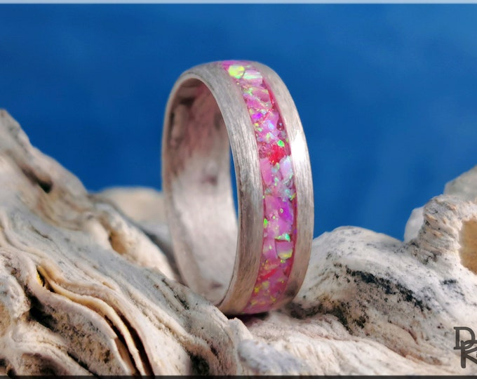 Bentwood Ring - Pewter Birdseye Maple w/Royal Pink Opal inlay - Wood Ring