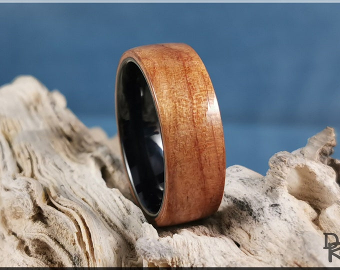Bentwood Ring - Curly Cherry on polished black ceramic ring core