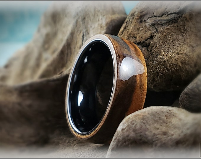 Bentwood Ring - Rustic French Walnut on Polished Black Ceramic ring core