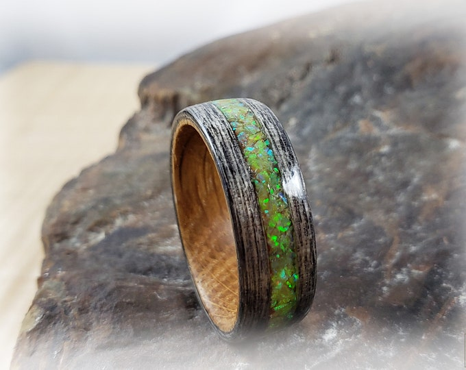 Bentwood Ring - Harborica w/Citrine opal on Whisky Barrel ring core
