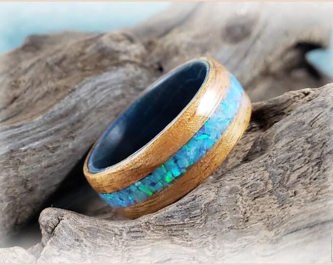 Bentwood Ring - Okoume w/Azure Opal inlay, on Blue Box Elder core