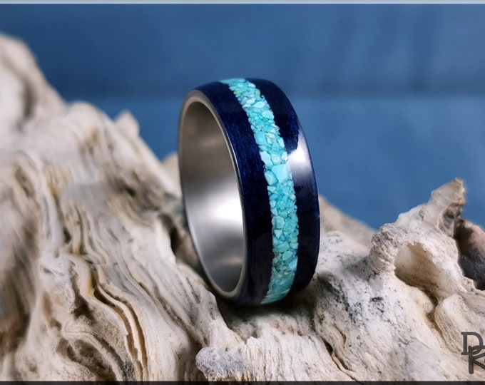 Bentwood Ring - Midnight Blue Tulipwood w/offset Sleeping Beauty Turquoise inlay on titanium ring core