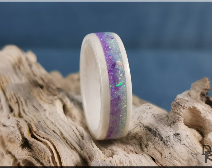 Bentwood Ring - Snow White Sycamore w/Dual Lavender and Cornflower Blue Opal inlays, on polished white ceramic ring core