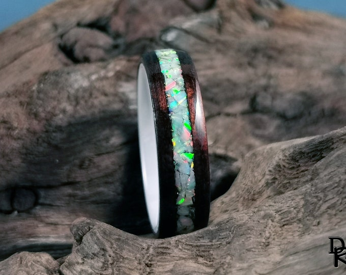 Bentwood Ring - Smoked Etimoe w/Aurora opal inlay, on polished White Ceramic ring core - Wood Ring