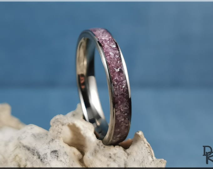 Titanium 4mm Channel Ring w/Lavender Lepidolite stone inlay