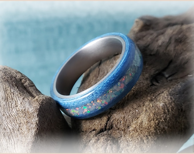 Bentwood Ring - Denim Blue Tulipwood w/Fire and Snow opal inlay on titanium ring core