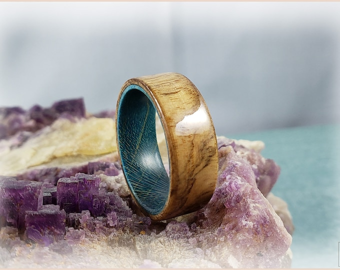 Bentwood Ring - Olive Ash Burl on Teal Blue Box Elder ring core