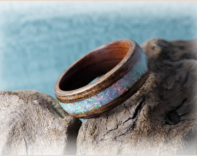 Bentwood Ring - French Walnut w/Cornflower Blue opal inlay on Ironwood ring core