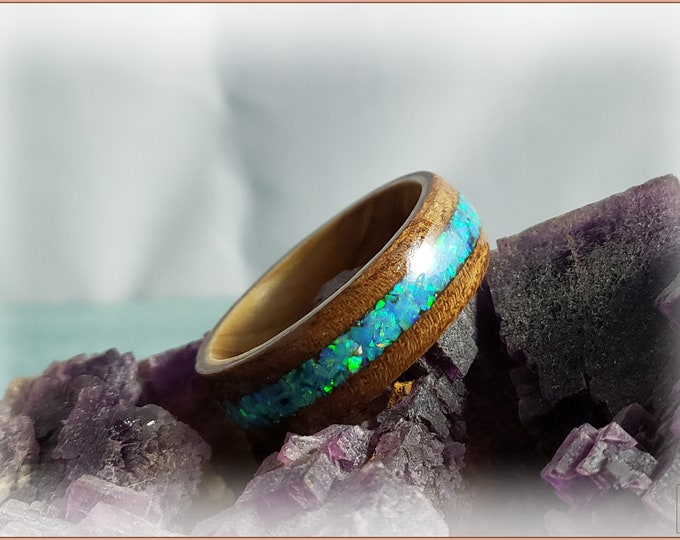 Bentwood Ring - Black Walnut Burl w/Aqua Fire Opal inlay, on Olivewood core
