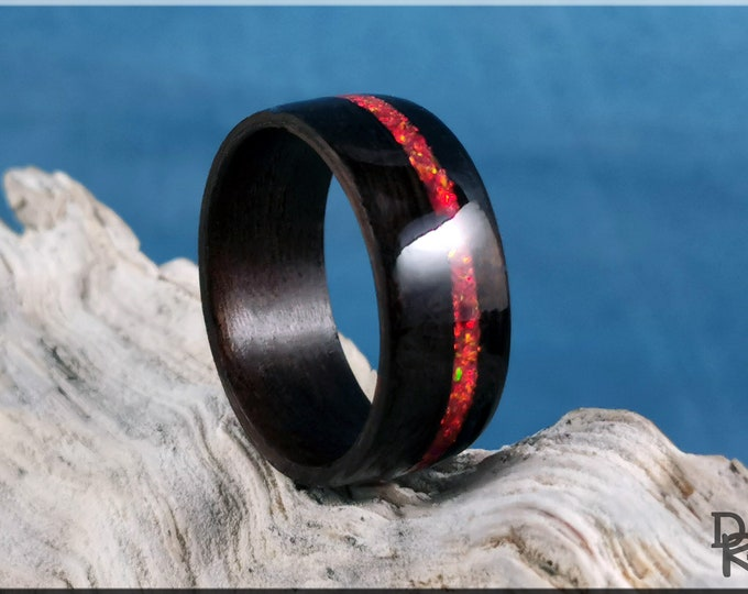 Bentwood Ring - Smoked Eucalyptus w/offset Ruby Fire opal inlay - Wood Ring