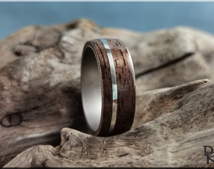 Bentwood Ring - Curly Black Walnut w/offset .925 Sterling Silver inlay, on titanium ring core