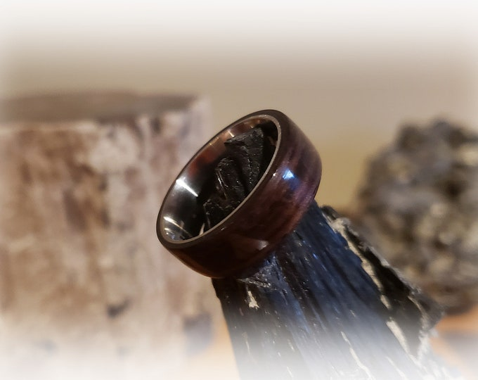 Bentwood Ring - Macassar Ebony - titanium ring core.
