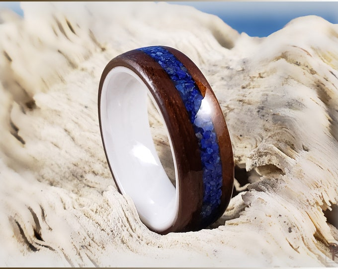 Bentwood Ring - Fumed Larch w/Lapis Lazuli Stone inlay, on polished white ceramic ring core