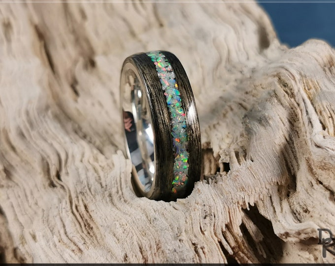 Bentwood Ring - Harborica w/Fire and Snow Opal inlay, on premium .925 Sterling Silver ring core