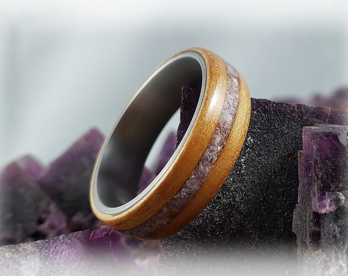 Bentwood Ring - Curly Cherry w/Lavender Lepidolite stone inlay on titanium ring core