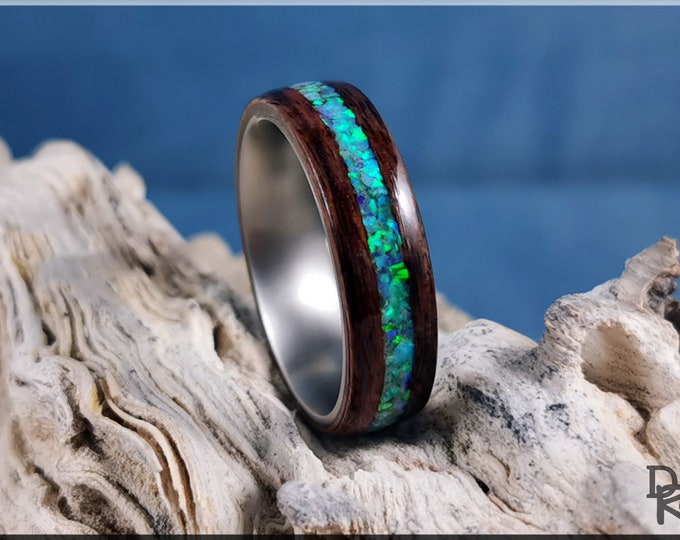 Bentwood Ring - Santos Rosewood w/Multi Green Opal inlay, on titanium ring core