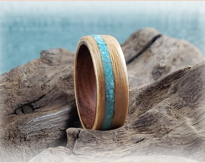Bentwood Ring - Hickory w/Sleeping Beauty Turquoise inlay, on Ironwood ring core
