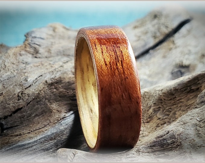 Dual Bentwood Ring - Etimoe on Black Limba Bentwood ring core