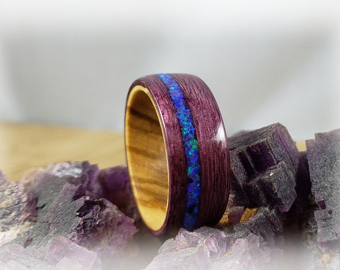 Bentwood Ring - Plum Koto w/Lavender opal inlay on Olivewood ring core