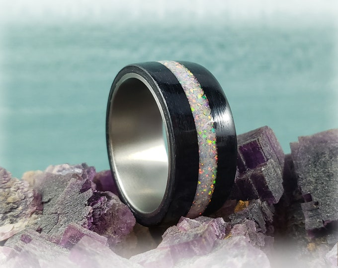 Bentwood Ring - Jet Black Tulipwood w/Sun and Ice opal inlay on titanium ring core