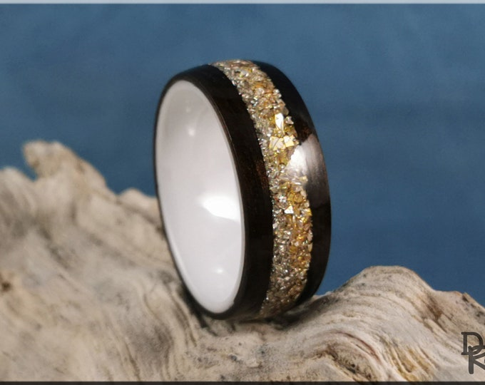 Bentwood Ring - Smoked Eucalyptus w/Dual Silver and Gold Glass inlay, on Polished White Ceramic ring core