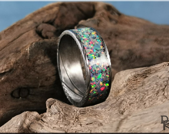 Blackened Damascus Steel Channel Ring w/Opal inlay