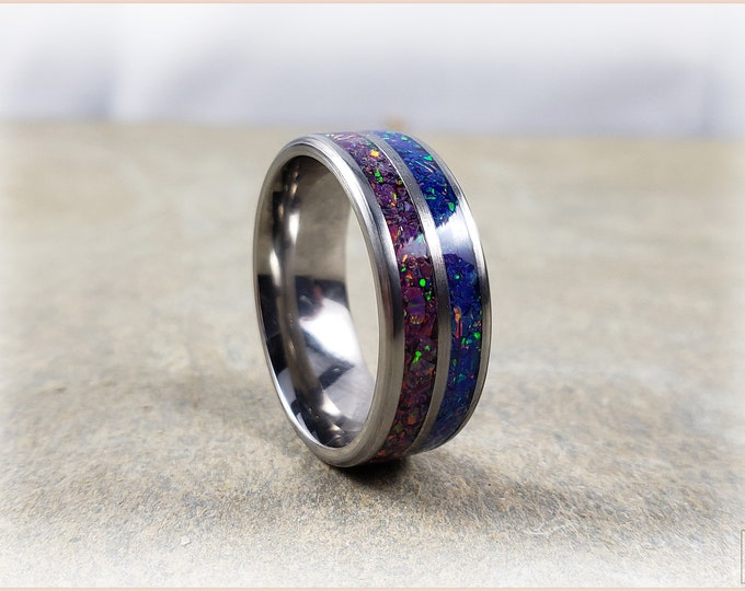 Titanium Dual-Channel Ring w/Opal inlay
